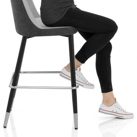 Hudson Stool Charcoal & Grey Fabric Seat Image