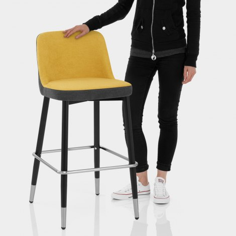 Hudson Stool Charcoal & Yellow Fabric Features Image