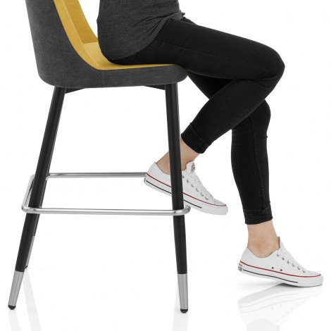 Hudson Stool Charcoal & Yellow Fabric Frame Image