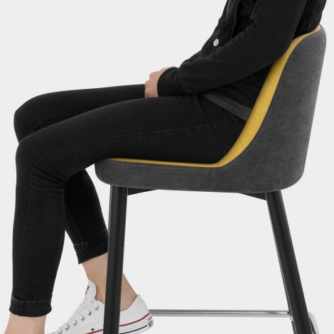Hudson Stool Charcoal & Yellow Fabric Seat Image