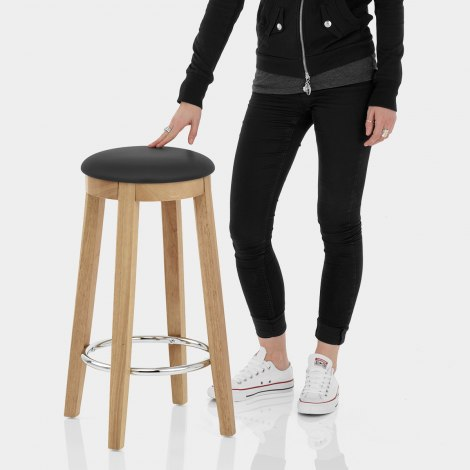 Ikon Kitchen Stool Oak & Black Features Image