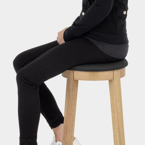 Ikon Kitchen Stool Oak & Black Seat Image