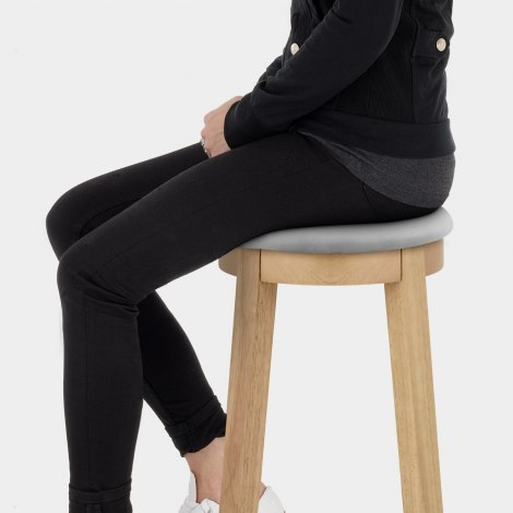 Ikon Kitchen Stool Oak & Grey Velvet Seat Image