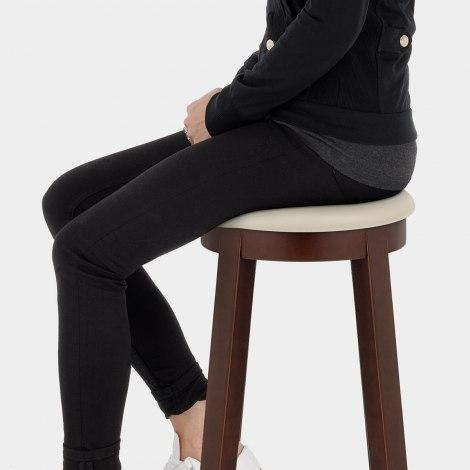 Ikon Kitchen Stool Walnut & Cream Seat Image