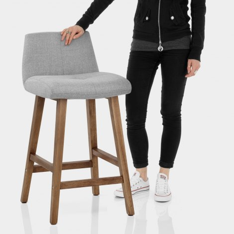 Impulse Wooden Stool Grey Fabric Features Image