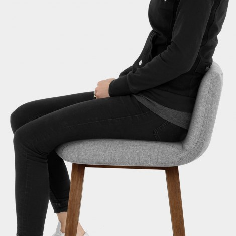 Impulse Wooden Stool Grey Fabric Seat Image
