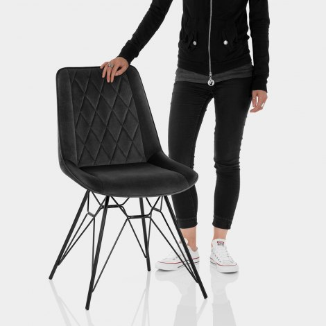 Indi Dining Chair Black Velvet Features Image