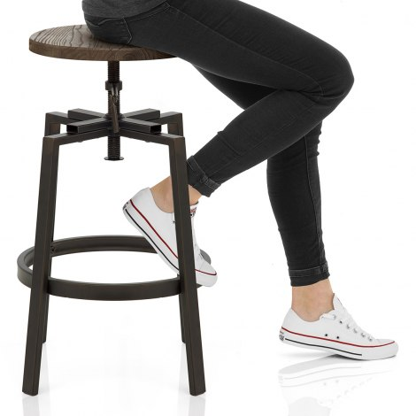 Industrial Turner Stool Dark Wood Seat Image