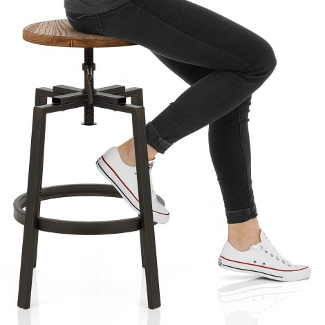 Industrial Turner Stool Light Wood Seat Image
