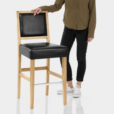 Jasper Leather Bar Stool Oak & Black Features Image