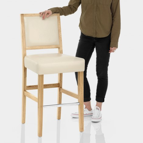 Jasper Leather Bar Stool Oak & Cream Features Image