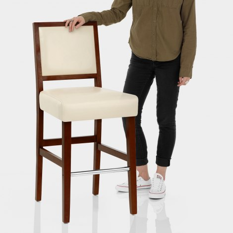 Jasper Leather Bar Stool Walnut & Cream Features Image