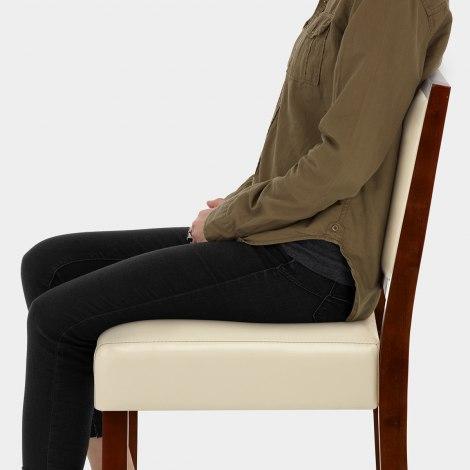 Jasper Leather Bar Stool Walnut & Cream Seat Image