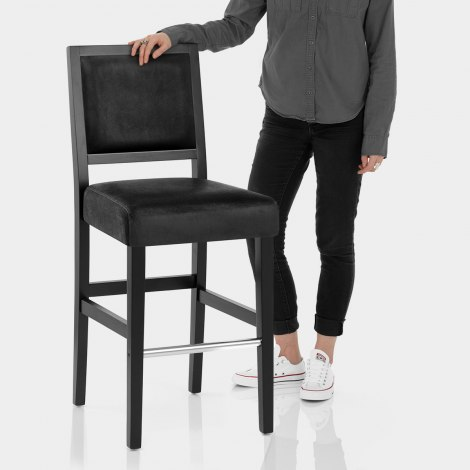 Jasper Black Stool Black Velvet Features Image
