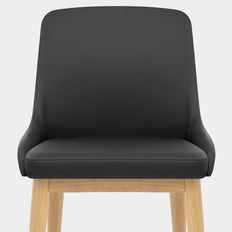 Jersey Chair Oak & Black Faux Leather Seat Image