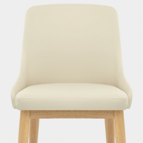 Jersey Chair Oak & Cream Faux Leather Seat Image