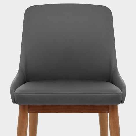 Jersey Chair Walnut & Grey Faux Leather Seat Image