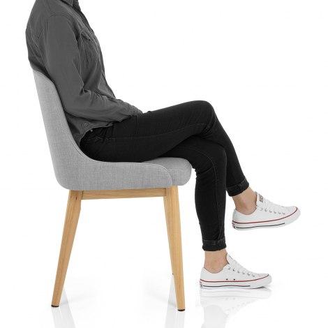 Jersey Dining Chair Oak & Light Grey Frame Image
