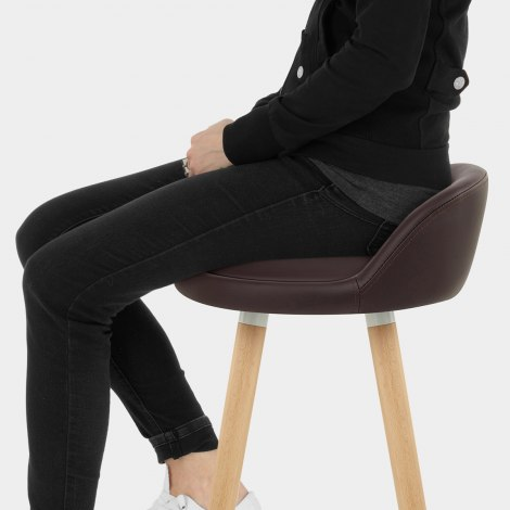 Jive Wooden Stool Brown Seat Image