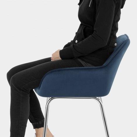 Kanto Chrome Stool Blue Velvet Seat Image