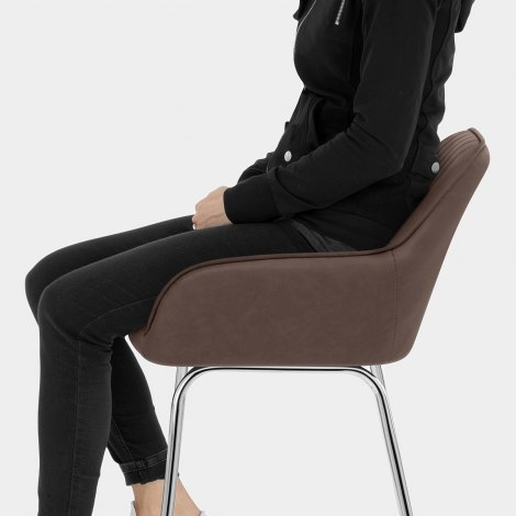 Kanto Chrome Stool Brown Seat Image