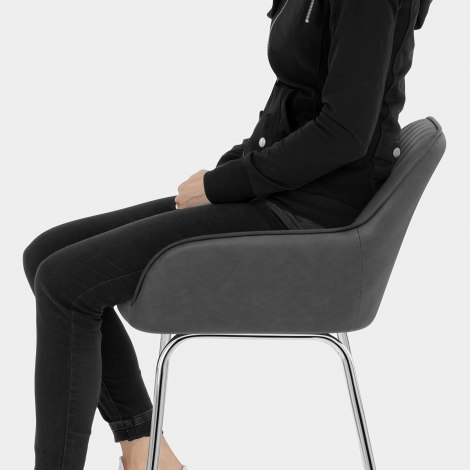 Kanto Chrome Stool Charcoal Seat Image