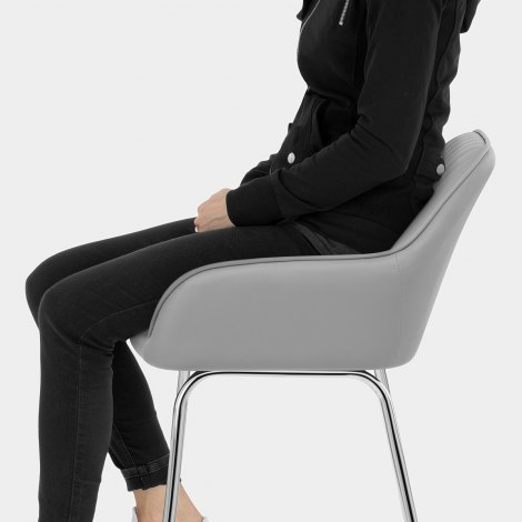 Kanto Chrome Stool Light Grey Seat Image