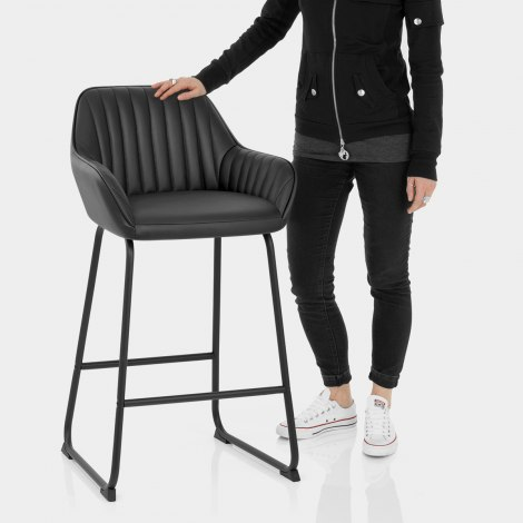 Kanto Real Leather Bar Stool Black Features Image