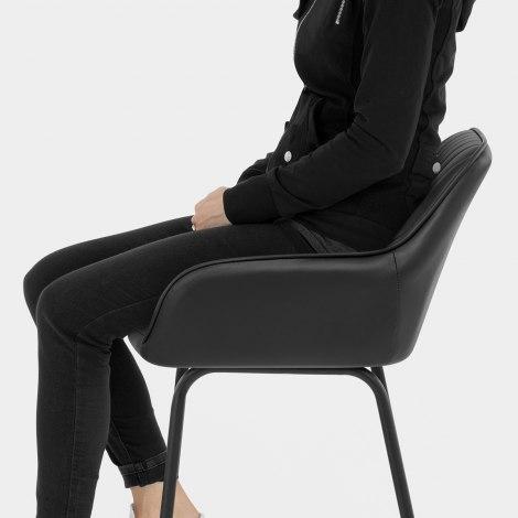 Kanto Real Leather Bar Stool Black Seat Image