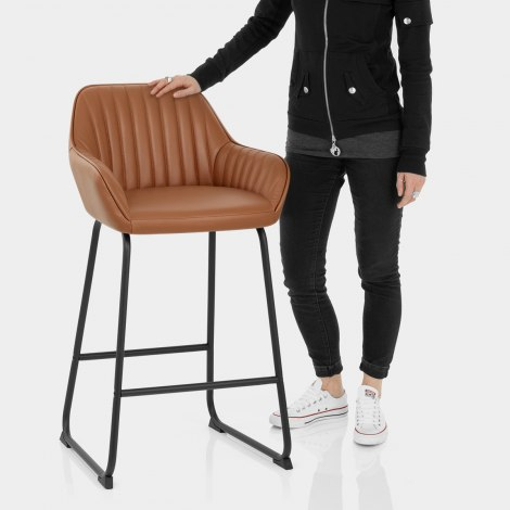 Kanto Real Leather Bar Stool Brown Features Image