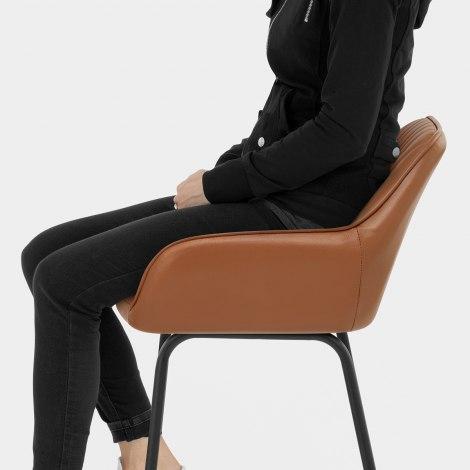 Kanto Real Leather Bar Stool Brown Seat Image