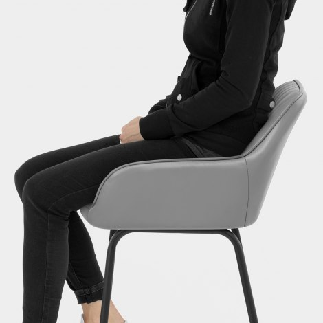 Kanto Real Leather Bar Stool Grey Seat Image