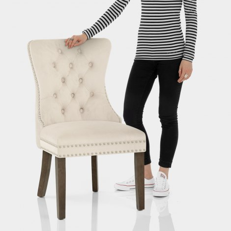 Kensington Dining Chair Beige Velvet Features Image