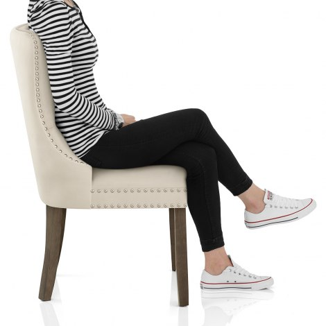 Kensington Dining Chair Beige Velvet Seat Image