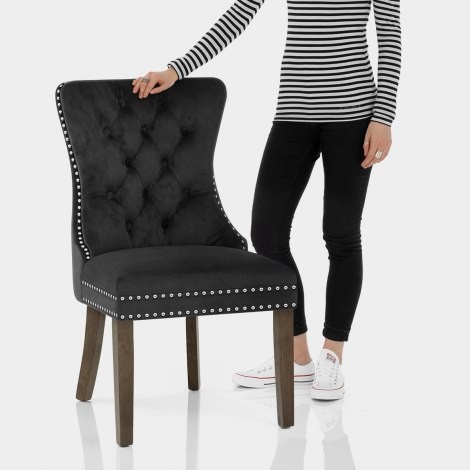 Kensington Dining Chair Black Velvet Features Image