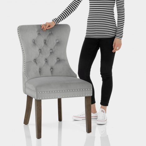 Kensington Dining Chair Grey Velvet Features Image