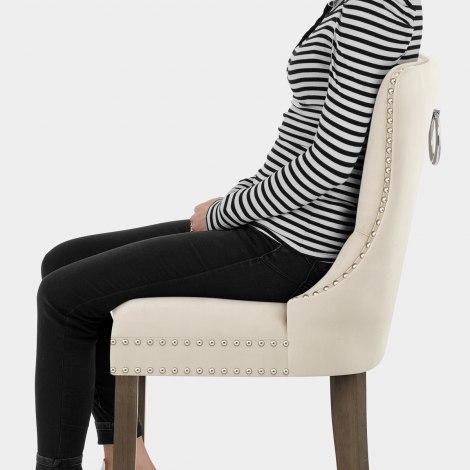 Kensington Wooden Stool Beige Velvet Seat Image