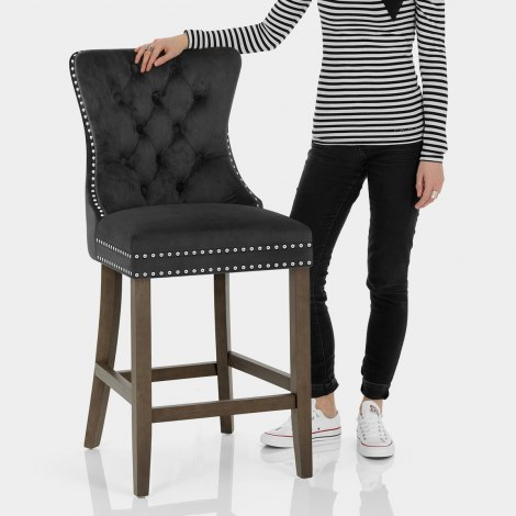 Kensington Wooden Stool Black Velvet Features Image