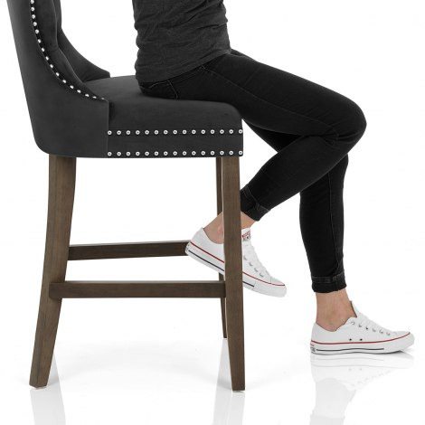 Kensington Wooden Stool Black Velvet Seat Image