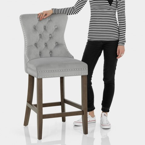 Kensington Wooden Stool Grey Velvet Features Image