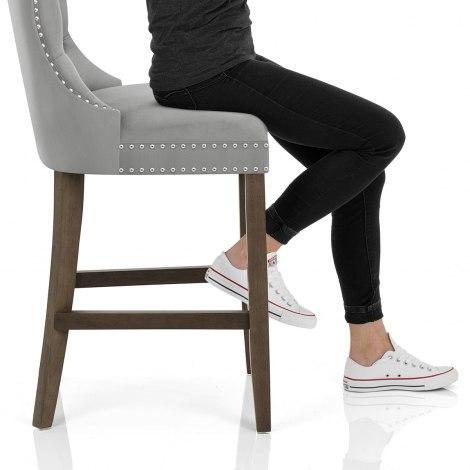 Kensington Wooden Stool Grey Velvet Seat Image