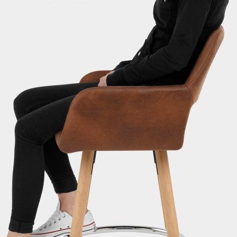 Kite Wooden Stool Antique Brown Seat Image