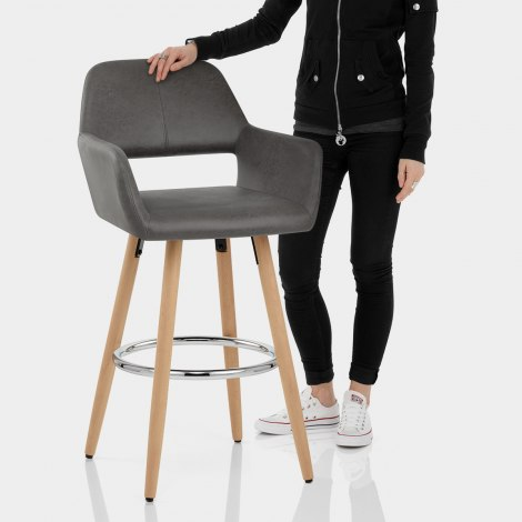 Kite Wooden Stool Grey Features Image