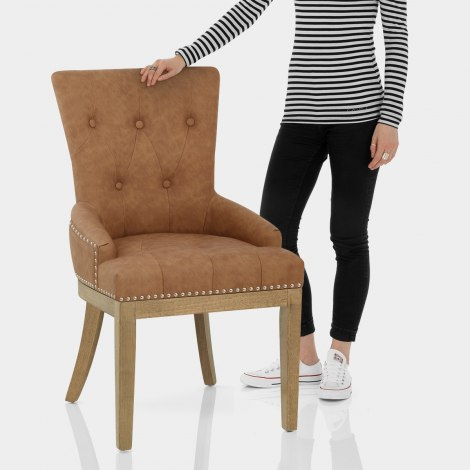 Knightsbridge Oak Chair Brown Leather Features Image