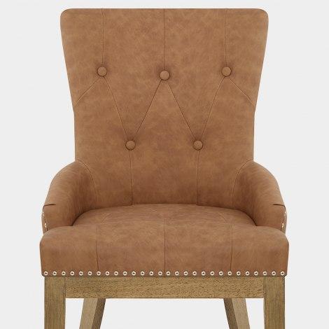 Knightsbridge Oak Chair Brown Leather Seat Image