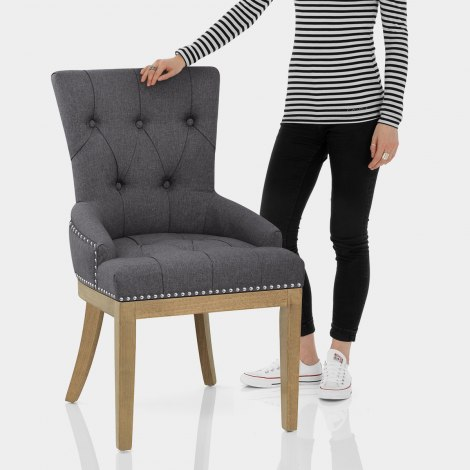Knightsbridge Oak Chair Charcoal Fabric Features Image
