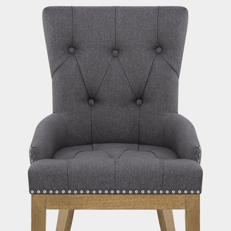 Knightsbridge Oak Chair Charcoal Fabric Seat Image