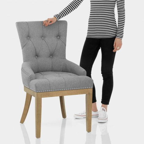 Knightsbridge Oak Chair Grey Fabric Features Image