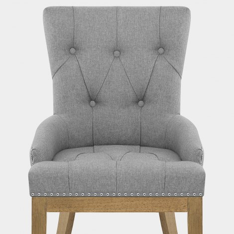 Knightsbridge Oak Chair Grey Fabric Seat Image
