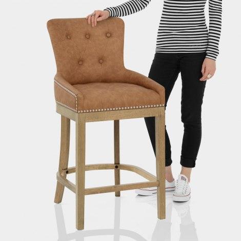 Knightsbridge Oak Stool Brown Leather Features Image